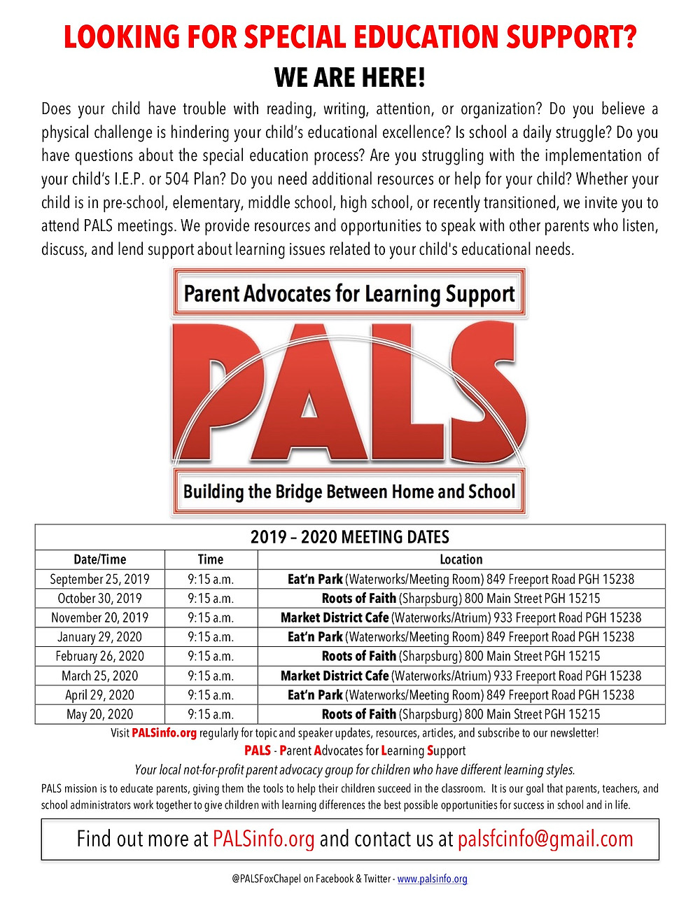PALS: Parent Advocates for Learning Support 2019-2020 Meeting Schedule