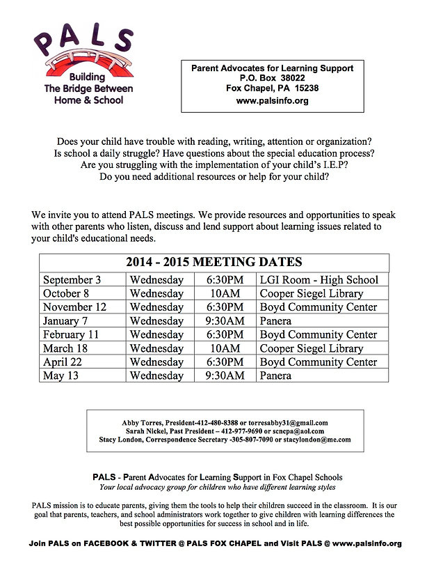 PALS 2014-2015 Meeting Schedule