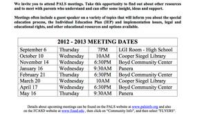 PALS 2012-2013 Meeting Schedule