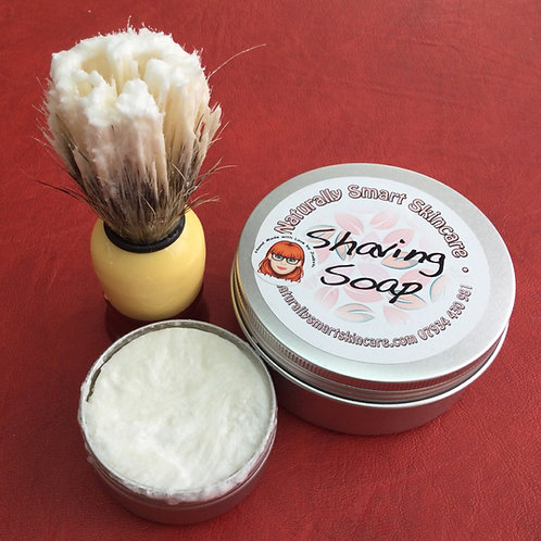 Shaving Soap - in a tin. Complete with a shaving brush.