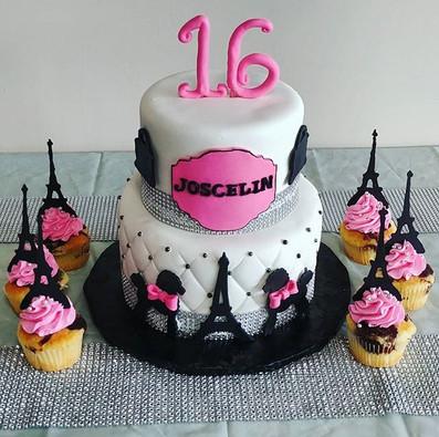 Loved making this Sweet 16 cake! _#parisiscalling #sweet16 #birthdaycake #poodles #prettyandpink #mainstreetcake