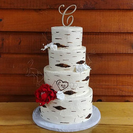 Gorgeous birch wedding cake from this pa