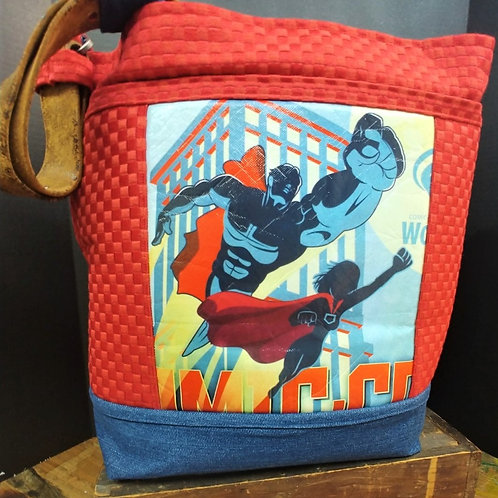 Red Super Hero Cross-body Tote
