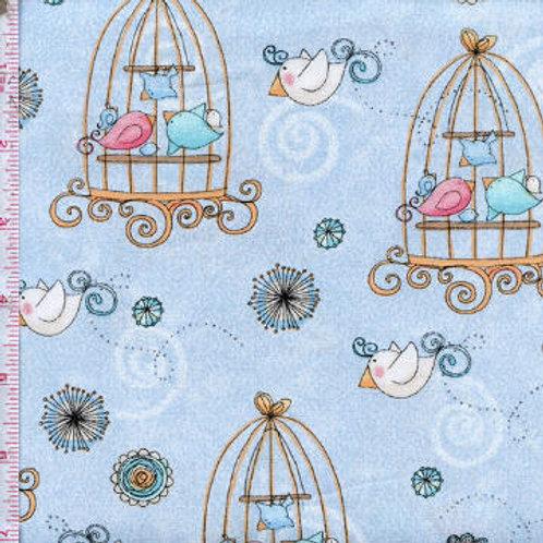 Умненькие птички (голубой с клетками)