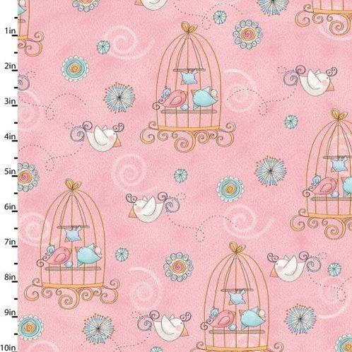 Умненькие птички (розовый с клетками)