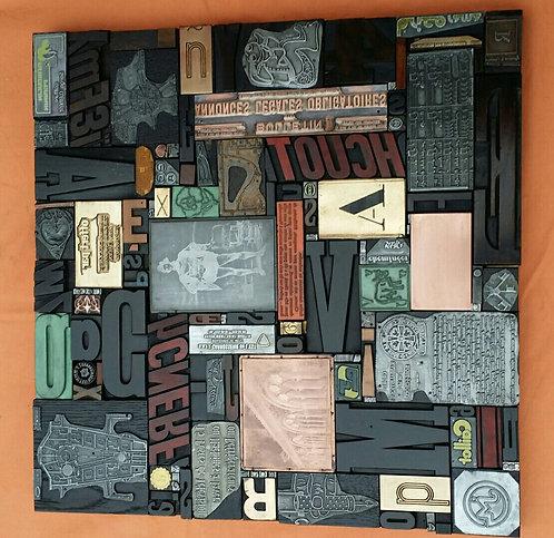 Tableau original en lettre d'imprimerie (bois & métal) et clichés - Vulkain - cr