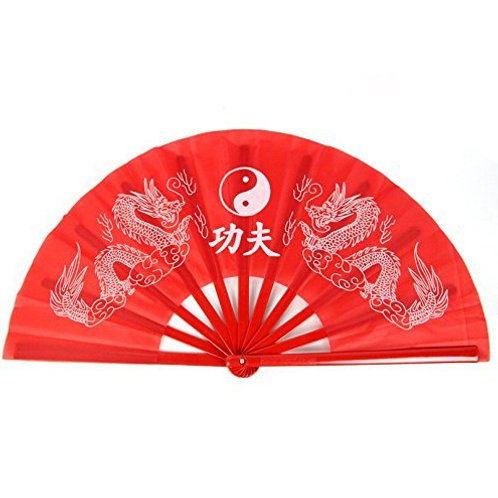 Bamboo Kung Fu Fan - Red
