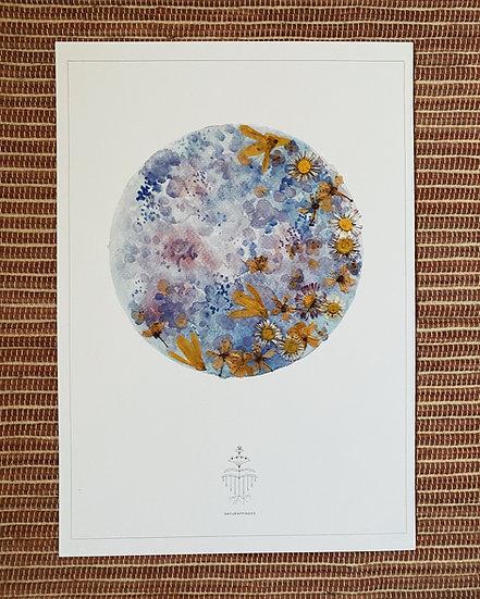 Aquarelle de pleine lune bleue