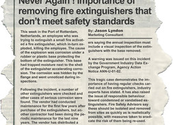 Never Again ! The importance of having fire extinguishers removed from premises quickly if they do n