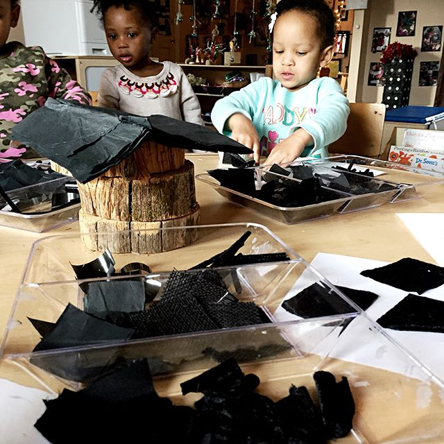 Exploring and Creating texture collages in black with our friends at _trinityhousecc yesterday._