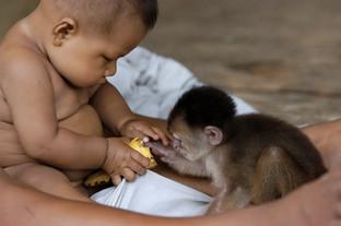 Amazon boy and their pet