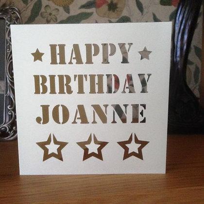 C30 - Happy Birthday Personalised Card (Stars)