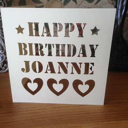C29 - Happy Birthday Personalised Card (Hearts)