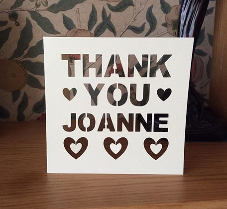 C44 - Thank You Personalised - Hearts