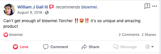 Customer review on Facebook