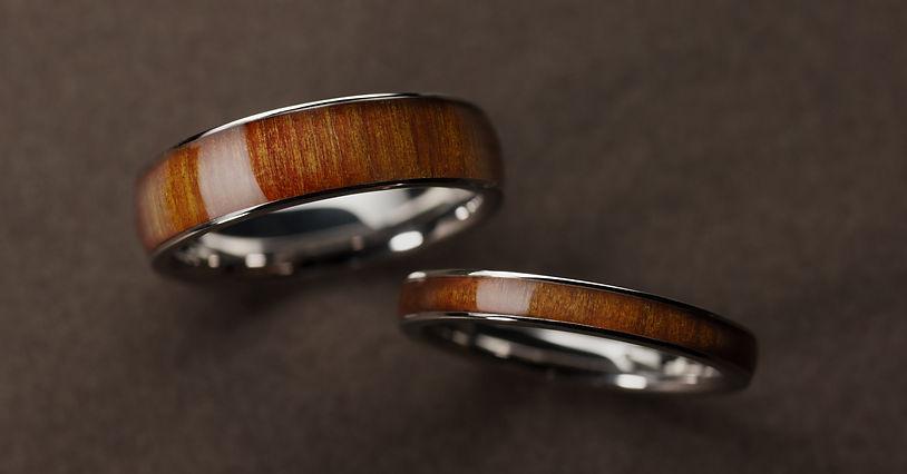 千年指環(屋久杉)5.5mm+3.0mm_3.0mm幅, 5.5mm幅, 屋久杉