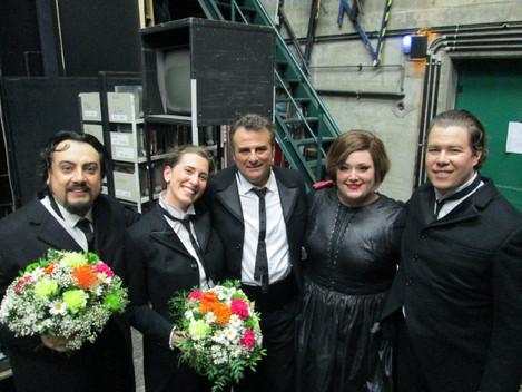 Ballo Gala - backstage with George Petean, Marcello Giordani, Heidi Melton, and Lucia Lucas