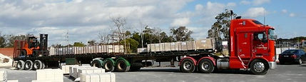 Limestone paving delivery truck