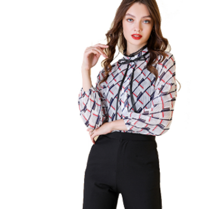 Sweetheart Bow High Collar Multi Colour Checkered Blouse