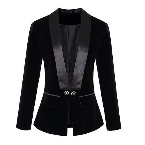 Double Breasted Satin & Velvet Black Blazer