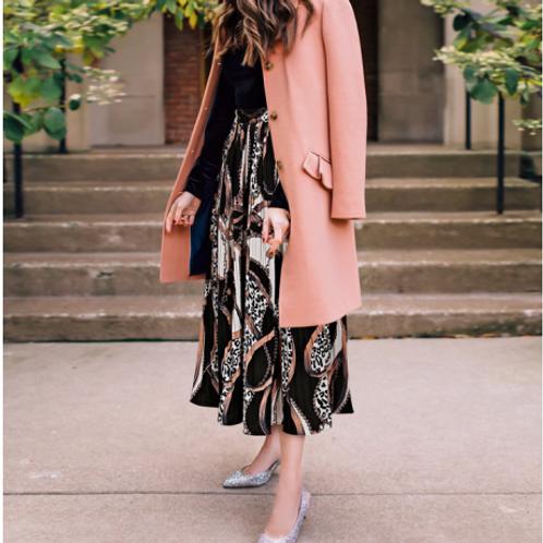 تنورة ماكسي مطوية بسيطة وجريئة متعددة الألوان