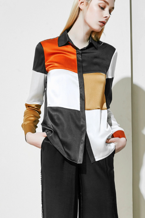 Multi-colour Print Silk Blouse