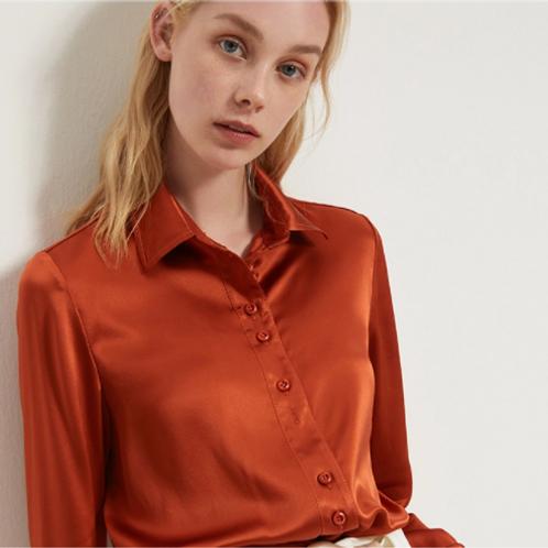 Vibrant Orange Silk Blouse