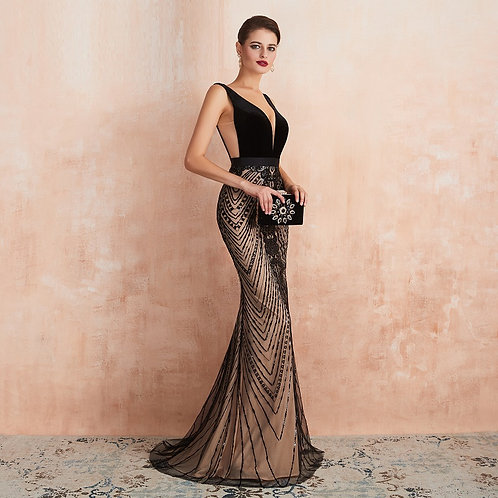 Millionaire Satin & Sequins Dress