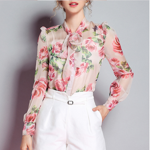 Pink Roses Sweetie Bow Silk Blouse