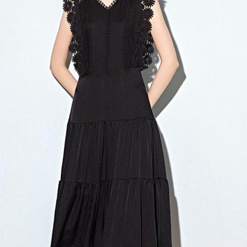 Black Net Sleeveless Silk Dress
