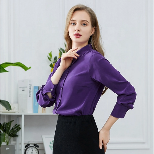 Purple Long Sleeve Silk Blouse