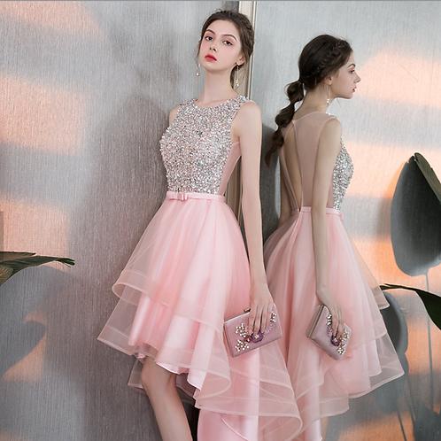 Pink & Silver sequins A-line Layered Dress