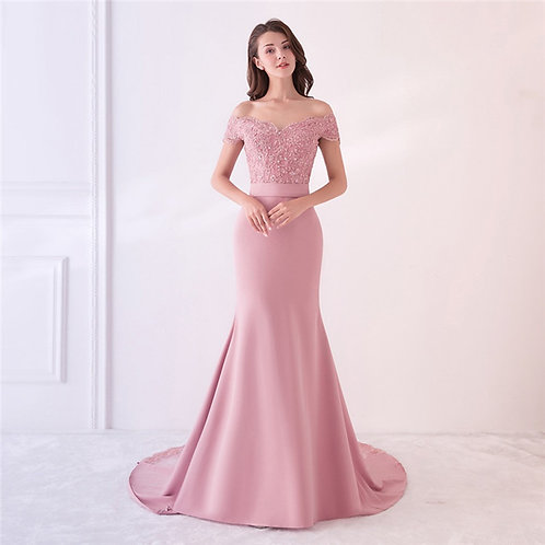 Floral Chest Mermaid fit, petal pink Satin Dress