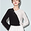 Thumbnail: Asymmetrical Contrast Black and White Silk Blouse