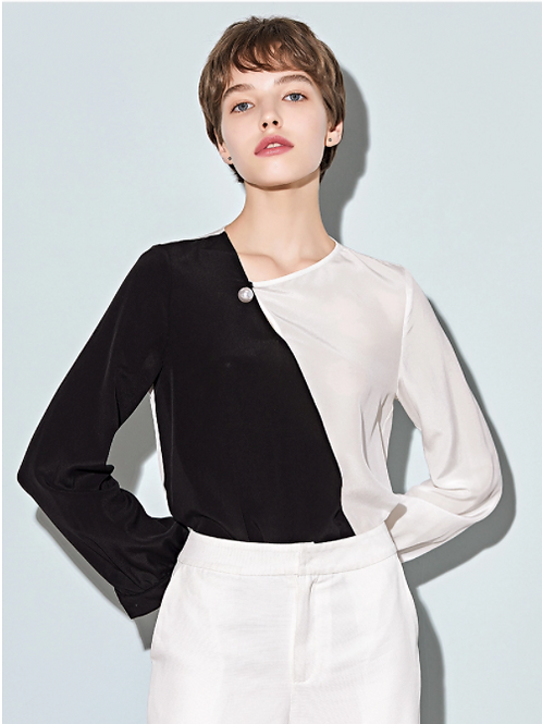 Asymmetrical Contrast Black and White Silk Blouse