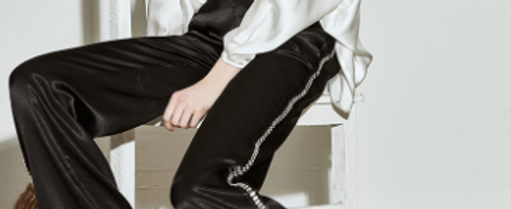 Silver Lining Silk Black Trousers