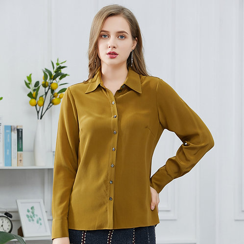 Honey Yellow Contrast Button Silk Blouse