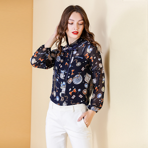 Sweetheart Bow Day Dream Print Blouse