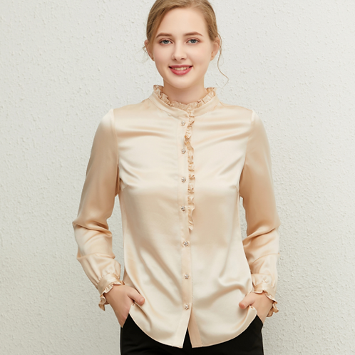 Beige Mulberry Silk Blouse