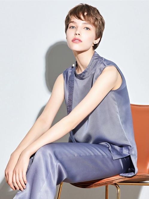 Berry Blue Sleeveless Silk Blouse