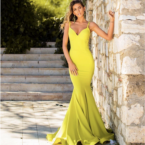 Lemon Yellow Mermaid Satin Dress