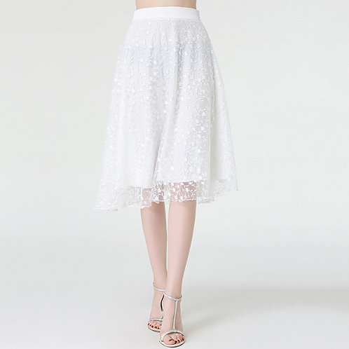 White Floral Embroidery Skirt