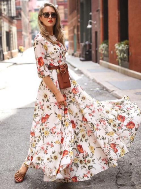 Floral Print Half Sleeve Maxi Dress