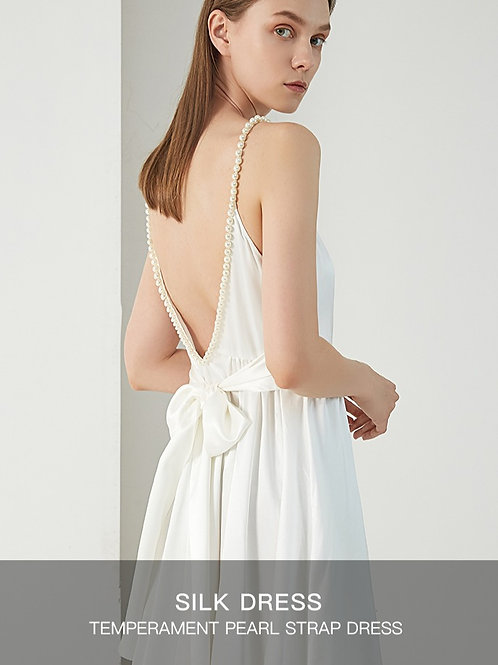 White Pearl String Sleeve Silk Dress
