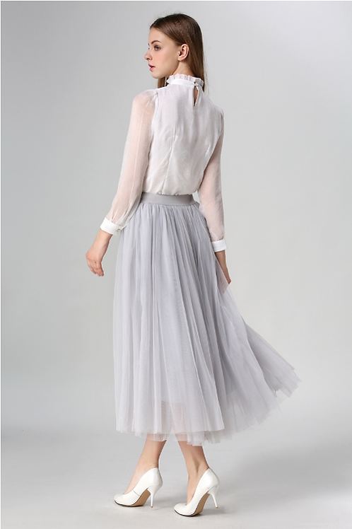 Grey Pleated A-line Mid-Calf Tulle skirt