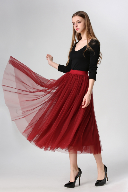 Red Pleated A-line Mid-Calf Tulle Skirt