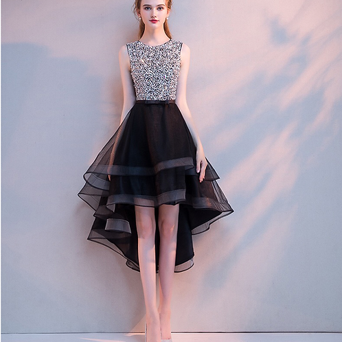 Black and Silver sequins A-line Layered Dress