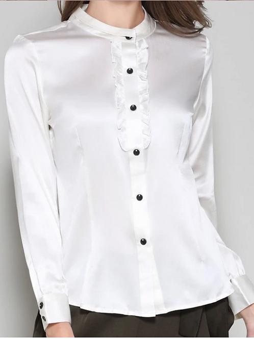 Vibrant White Silk Blouse