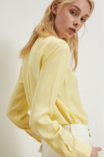 Canary Yellow Silk Blouse