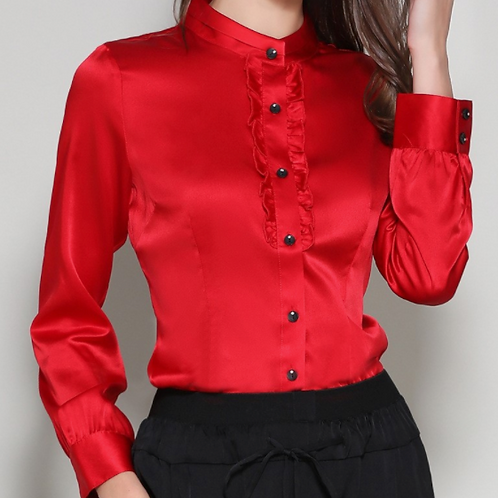 Radiant Red Silk Blouse